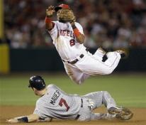 Erick Aybar leaps in the air to complete a double play.jpg