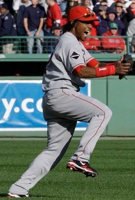 Erick Aybar celebrates as he catches the final out vs the Boston Red Sox in the 2009 NLDS.JPG