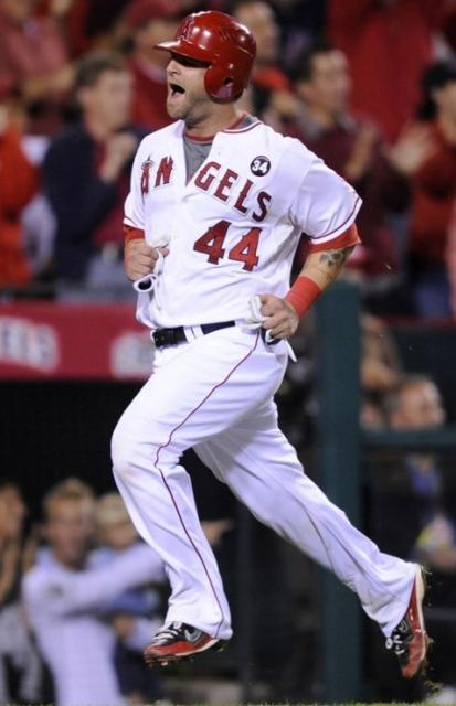Mike Napoli reacts as he scores in the 2009 NLDS against Boston.JPG