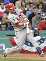 Mike Napoli hammers a double in the 2009 NLDS.JPG
