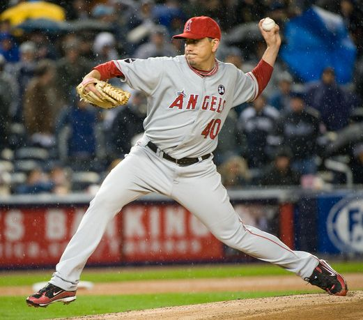 Brian Fuentes delivers in the rain in New York in game 2 of the 2009 NLCS.JPG