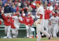 Brian Fuentes celebrates as he gets the final out of the 2009 NLDS against the Red Sox.JPG