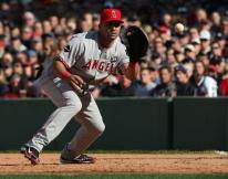 Kendry Morales fields a ground ball to first base during the 2009 NLDS.JPG