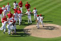 team celebrates clinching playoff spot 2007 at the mound.jpg