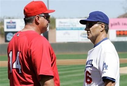 Mike Scioscia chats with Dodger Manager Joe Torre.jpg
