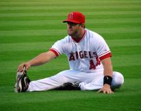 Mike Napoli stretches before a game.jpg